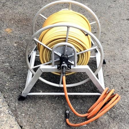 B2g191556 動噴用ホース アルミリール付き【通水確認済み】高圧ホース 噴霧ドラムリール ホースリールセット*