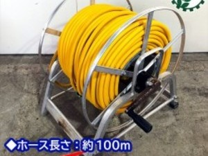 B1g191620 動噴用ホース 100M アルミリール付き【通水確認済み】高圧ホース 噴霧ドラムリール ホースリールセット*